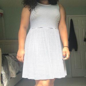 White Striped Old Navy Swing Dress